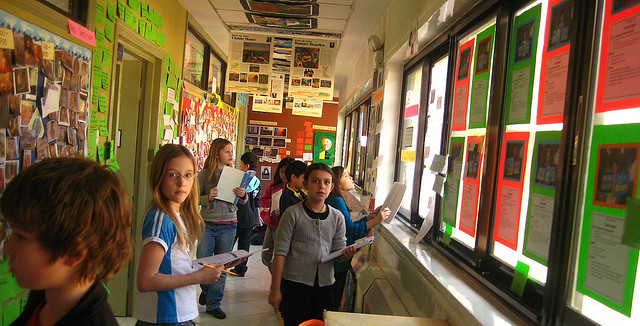 """Immersed in Thinking"" - Students learning in the corridor. Photo by sherrattsam"