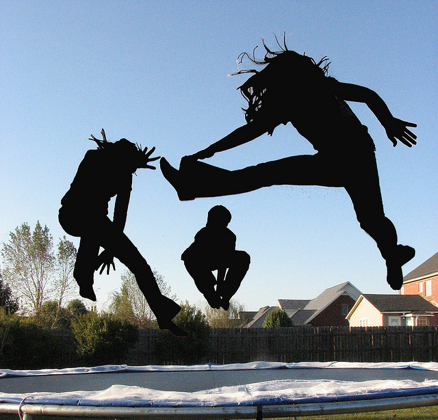 Kids on a trampoline - Image copyright Lauren Manning