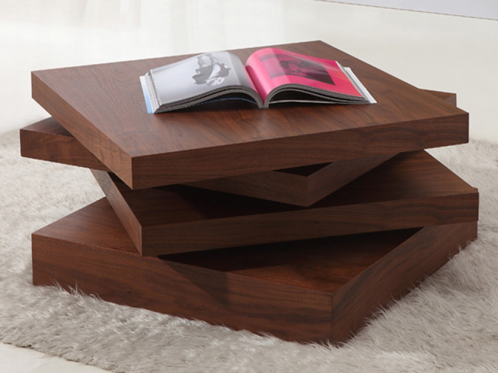 Kyra rotating 3 tier walnut coffee table for Table basse retro design