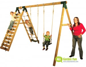 Plum UAKARI Wooden Swing Set - Photo by AllGardenFun