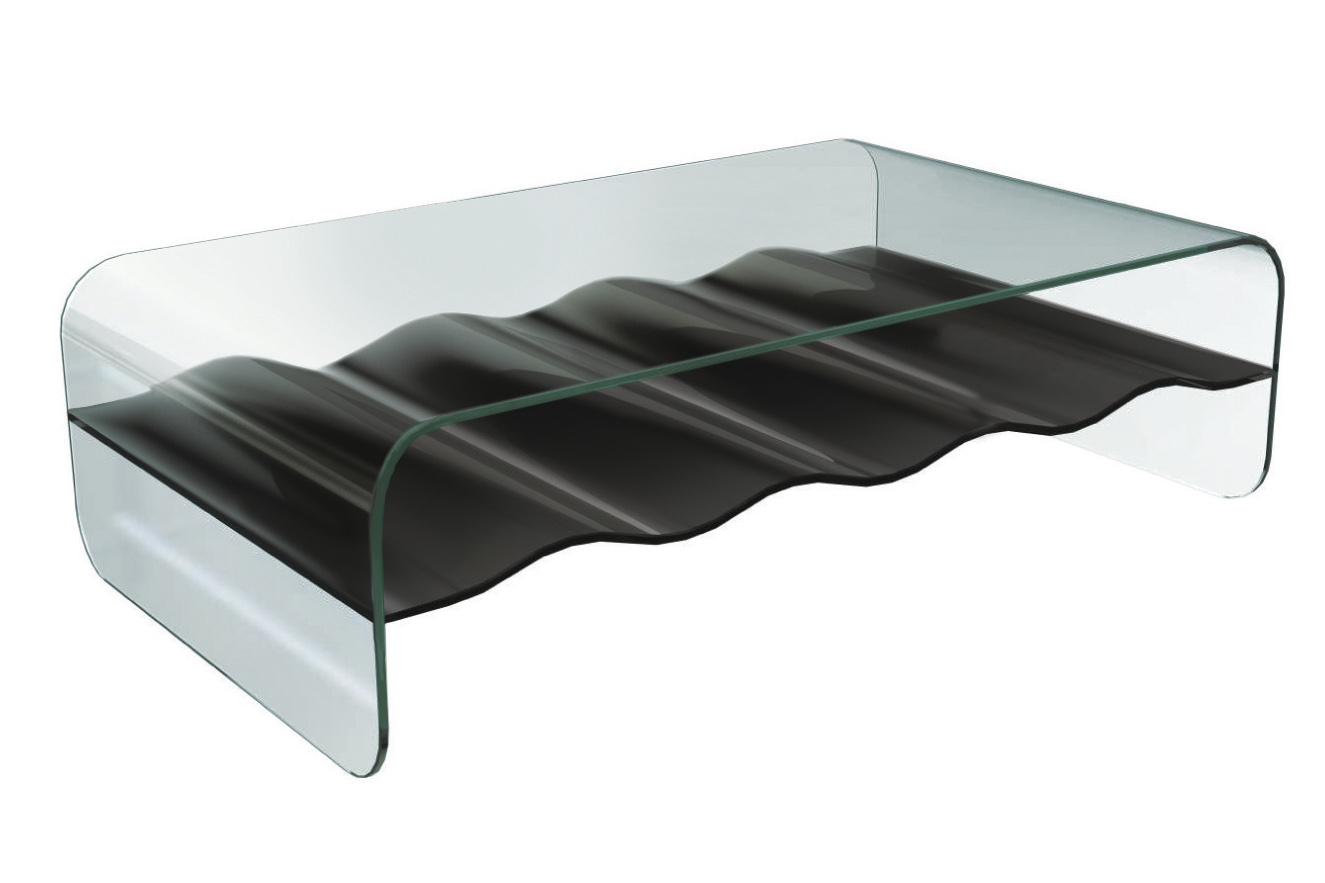 Wave Rectangular Glass Coffee Table