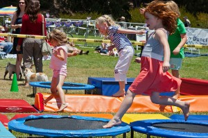 Kids on Trampolines - Copyright Mike Baird