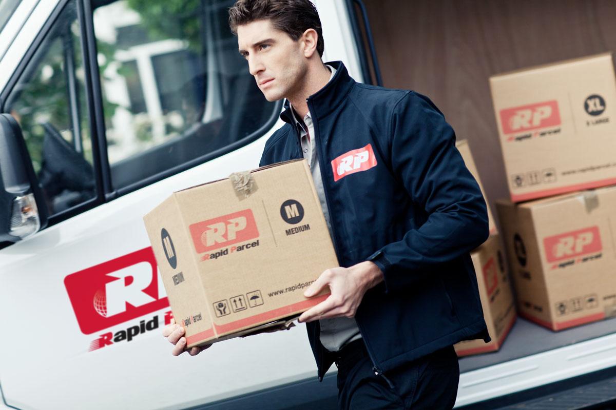 rapid parcel delivery man and van