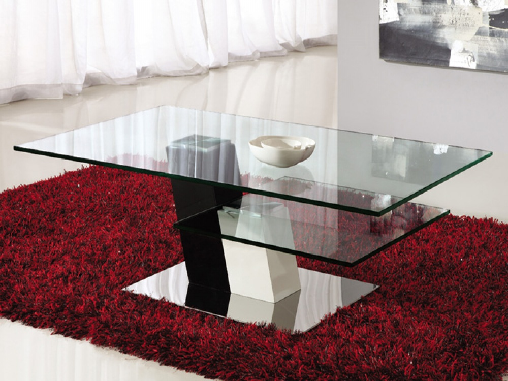 Elegance Clear 2 Tier Glass Coffee Table With Chrome Finish Base
