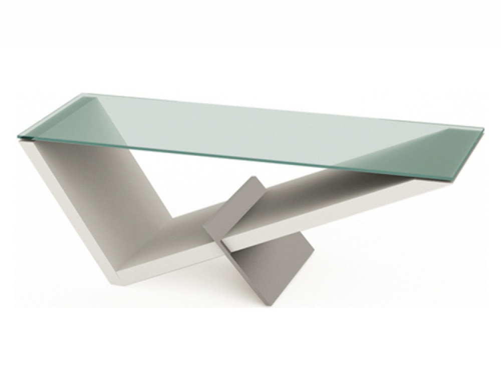 Gerrit White & Clear Glass Triangular Coffee Table